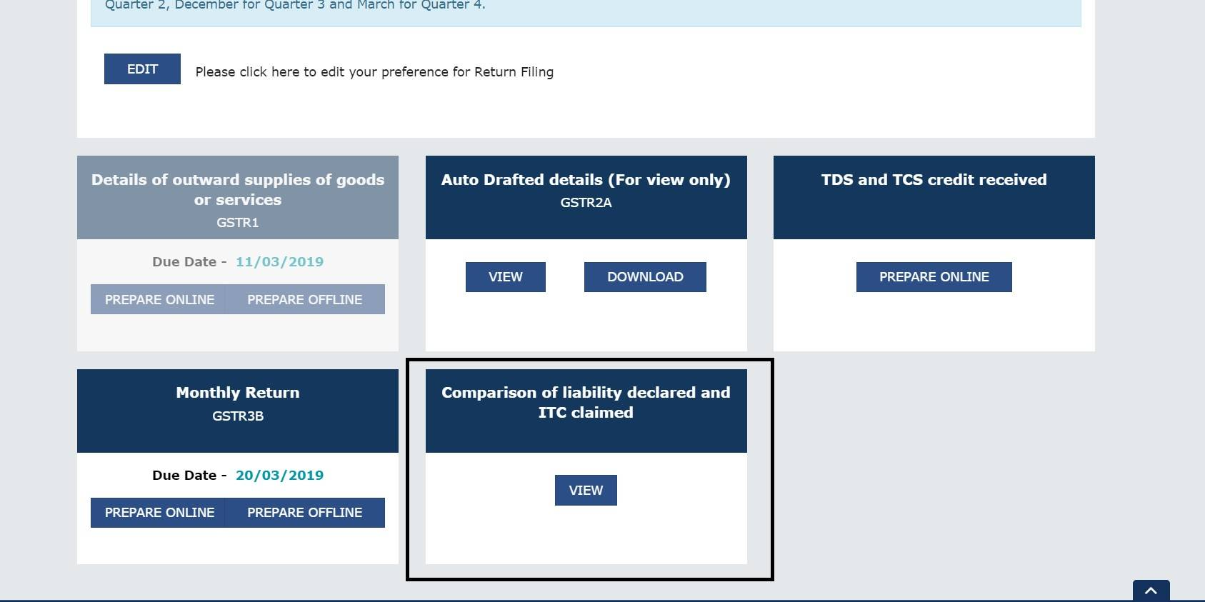 New Functionality update on GSTN Portal: Comparison of Liability